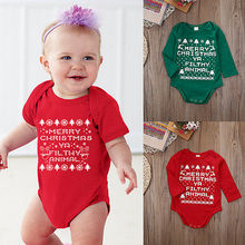 Merry Christmas Baby Romper Long Sleeve Boy Girls Bodysuit Outfits Hot