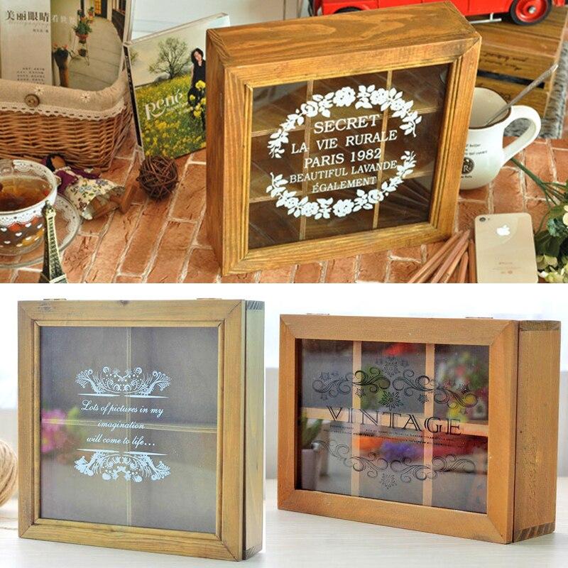 Vintage bijoux stockage présentoir en verre boîte en bois poupée boîte de rangement avec différents treillis créatifs décoration de la maison