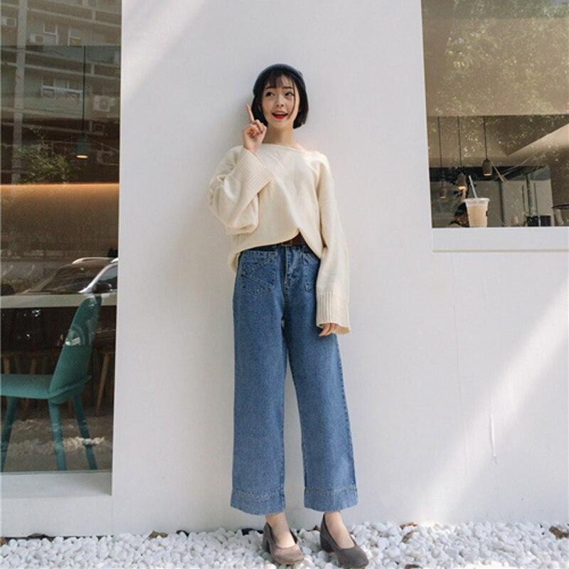 Korea Double Pocket Gao Autumn and Winter Joker Diamond Waist Straight Nine Points of Jeans Ladies
