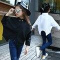 Niños Niñas Blusa Otoño 2016 Niñas Camisetas con los Adolescentes de Manga Larga Del Otoño Del Resorte de Las Muchachas Batwing Blusa Camisas Negro Blanco