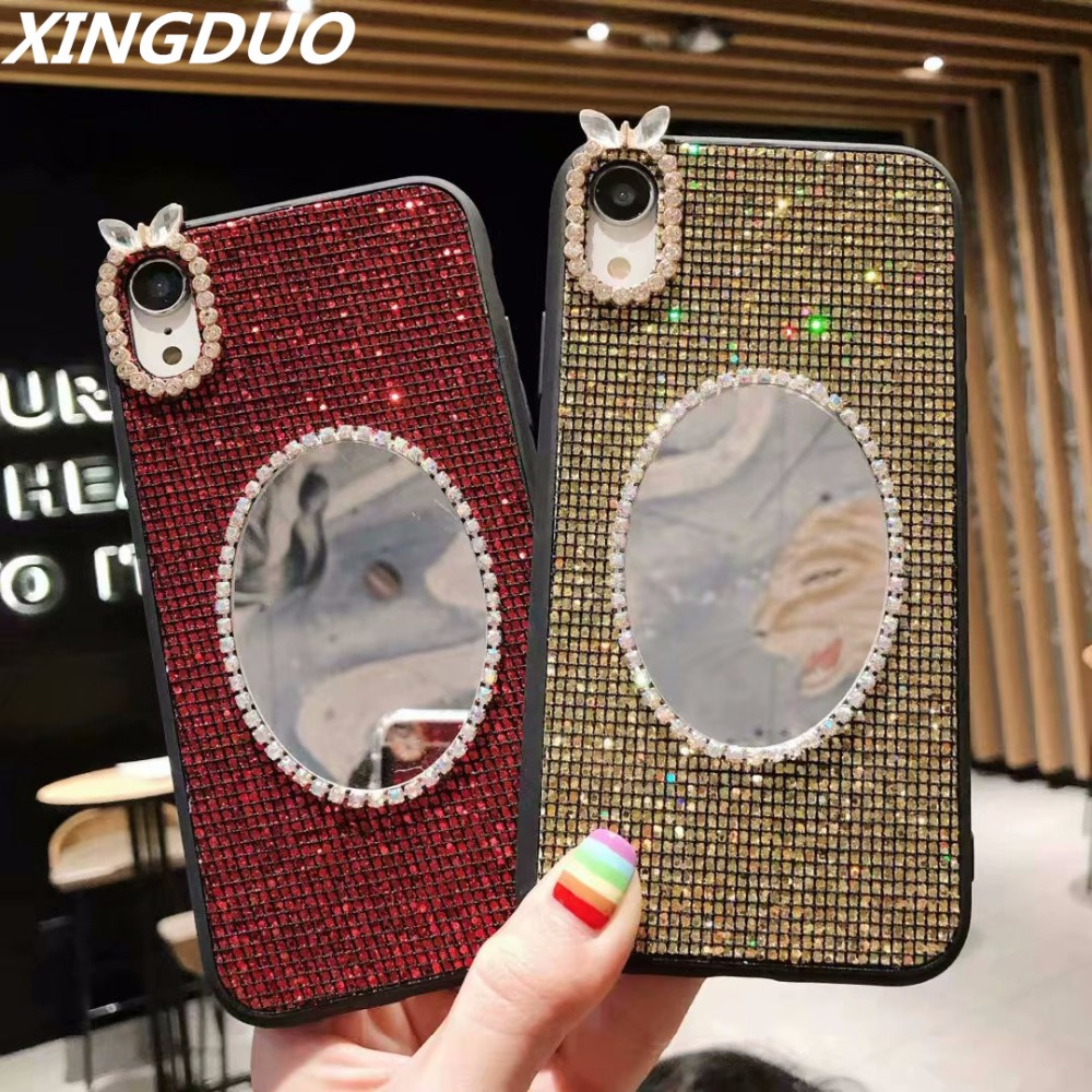 XINGDUO 2 in 1 Glitter Girls Make-up Mirror Marble case for Huawei <font><b>Mate</b></font> <font><b>20</b></font> Pro/P20/P20 Pro/ <font><b>Mate</b></font> <font><b>20</b></font> <font><b>sexy</b></font> Rhinestone Case cover image
