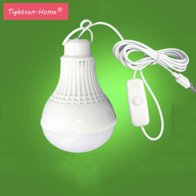 USB led camping lamp 5V 9W LED Bulb Light portable Lamp With switch for hiking camping Tent travel Work With Power Bank Notebook