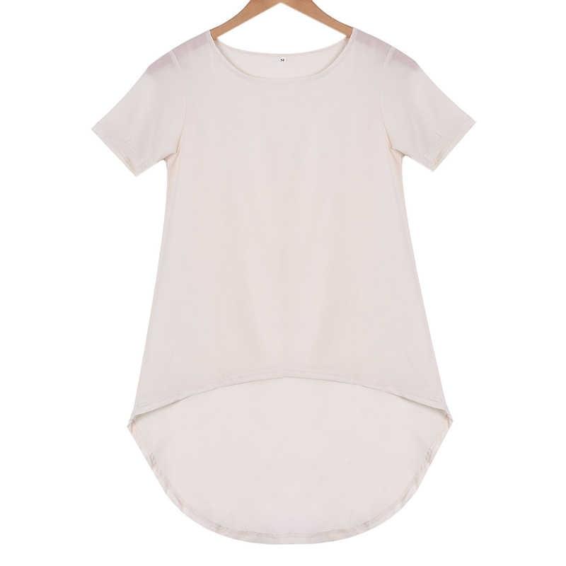 Vrouwen Zomer Effen Losse Korte Mouw Chiffon T-shirt Dames Casual Lange Zoom T-shirt Tee Top S-5XL