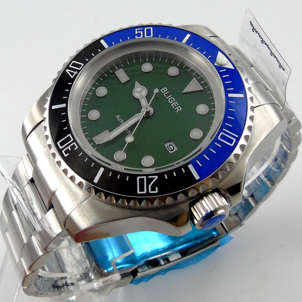 Bliger 44mm green Sterile dial blue &black Ceramic Bezel automatic mens watch bliger 44mm blue sterile dial blue