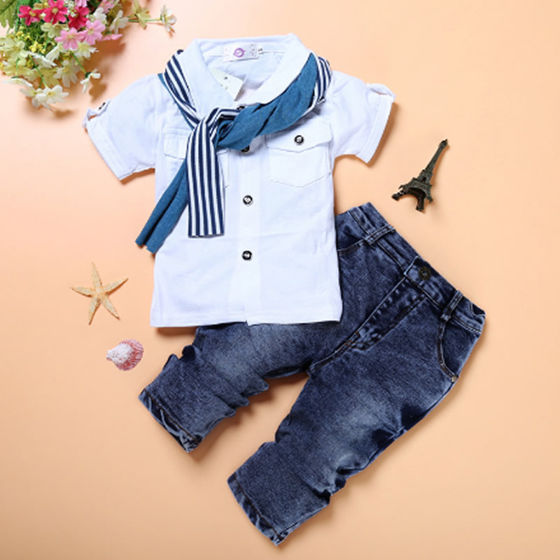 New 2017 Retail Children Set fashion suit boys jeans sets white t-shirt+pant 2pcs Kids Summer Baby Clothing