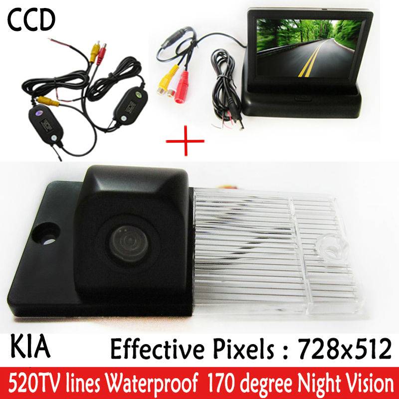 Auto 4.3 Iinch foldable <font><b>monitor</b></font>/ LCD Mirror with HD CCD Car Rearview Camera Parking Reverse accessories <font><b>For</b></font> <font><b>KIA</b></font> SORENTO SPORTAGE