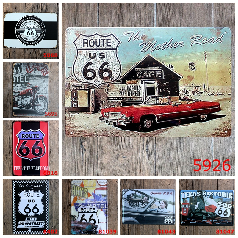 Us 3 78 5 Off The Mother Road Route 66 Metal Tin Signs Texas Historic Gas Car Garage Home Decor Wall Art Painting Signage Yn029 In Plaques