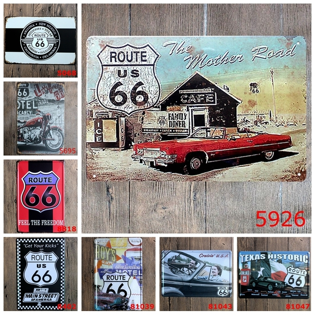 Beautiful The Mother Road Route 66 Metal Tin Signs Texas Historic Gas Car Garage Home  Decor Wall