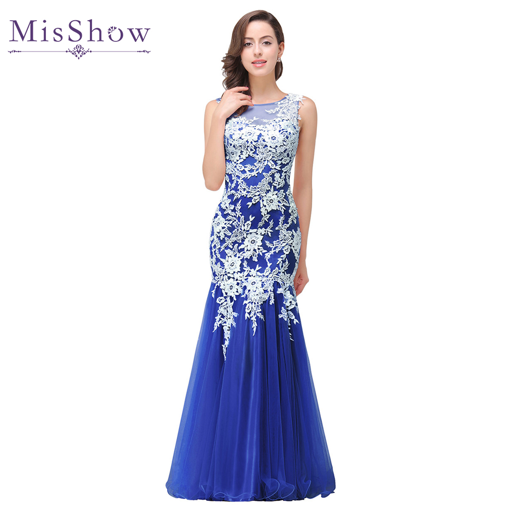 In stock Real Photo Mermaid White Lace Royal Blue Long   Evening     Dress   2019 Elegant Robe De Soiree Longue   Evening   Gowns