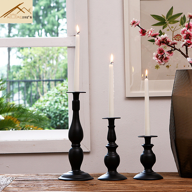 Europe Wedding Dining Table Candle Holder Clic Black Single Holders Christmas Home Dinner Party