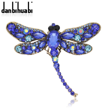 2016 New Fashion Dragonfly crystal jewelry shining brooch bouquet Vintage beautiful Brooches For women christmas accessories