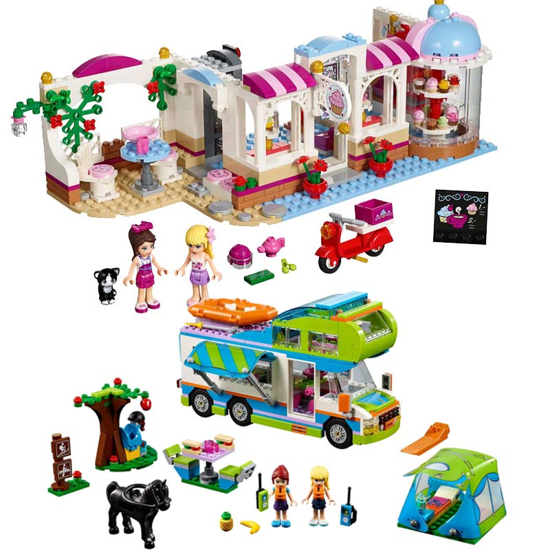 City Girls Princess Outing Bus Coffee Cake Shop Building Blocks Bricks Model Kids Classic Toys Compatible Legoing Friends Gifts