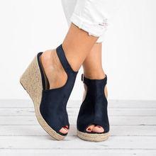 SLHJC Summer Wedges Sandals Peep Toe High Heel Height Increasing Platform