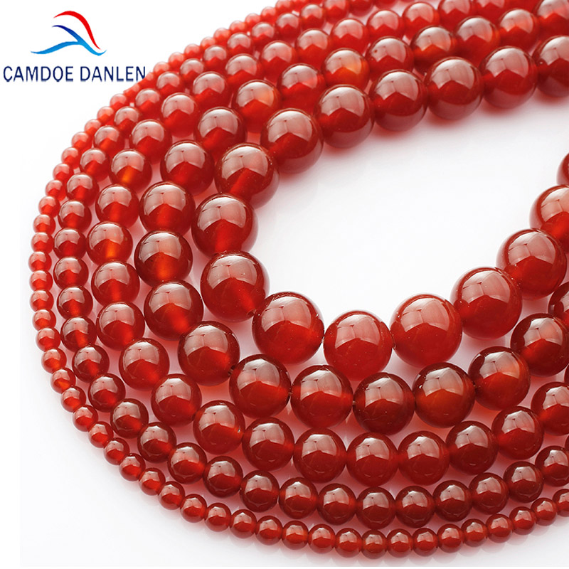 CAMDOE DANLEN AAA Natural Red Agat Gem Batu Carnelian Putaran Longgar Beads 4-16 MM Onyx Fit DIY Kalung Beads Untuk Membuat ...