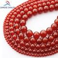 CAMDOE DANLEN AAA Natural rojo Agat gema piedra Carnelian redondo cuentas sueltas 4-16 MM ónix Fit DIY collar cuentas para hacer joyas