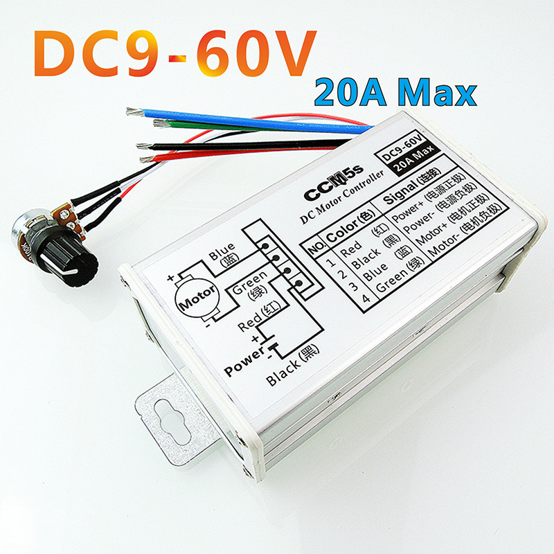 PWM DC motor stepless variable speed pulse width motor speed regulation switch 9V12V24V48V60V governor 20A pwm dc motor governor dc speed regulation power supply wk622 input ac220v output dc220v