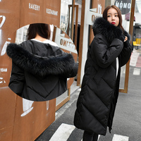 Winter women down jacket 2018 fashion solid color plus size mid long Thickening hooded fur collar warm female down jacket ll770
