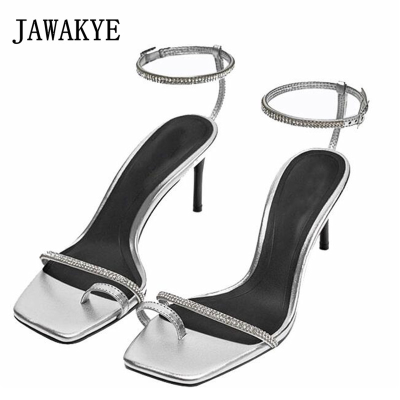 New Silver Crystal Gladiator Sandals Women flip flops High Heels Sexy Summer Shoes ankle Strap Comfortable Sandalias feminina
