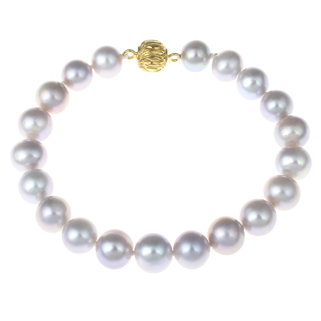 Korea Jewelry Freshwater Real Pearl Bracelet Natural Purple 7-8mm Pearl Bracelets Bangles 6 Inch Gold Box Clasp Pearl Bracelets