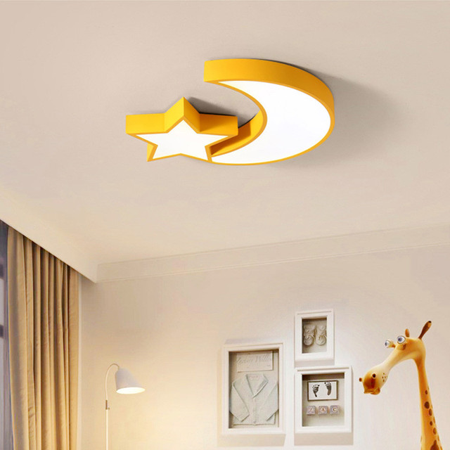 Simple Modern Metal Acrylic Lampshade Star Moon Led Ceiling Light Lamp Children Kids Room Bedroom Nursery