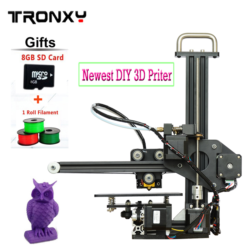 Tronxy 3d printer Prusa i3 Aluminium Structure 3d printer diy 3d printers Kit ABS LCD screen with 1 Roll Filament 8GB SD As Gift  silver color aluminium frame 3d printer 6 options diy prusa i3 3d printer kit hotbed lcd screen 2roll filament 8gb sd card