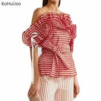KoHuiJoo Summer Women Short Sleeve Shirts 2017 Sweet Slash Neck Ladies Red Plaid Blouses Ruffles Fashion