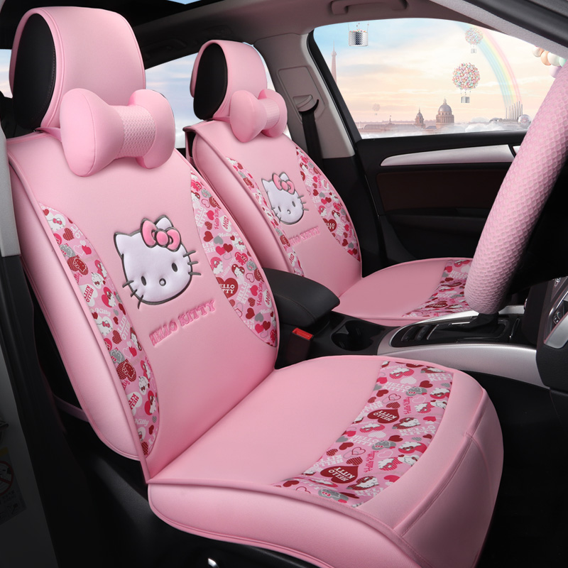 Best Car Seat Covers >> girls' women's fashion Cute cartoon hello kitty universal car seat cover-in Automobiles Seat ...