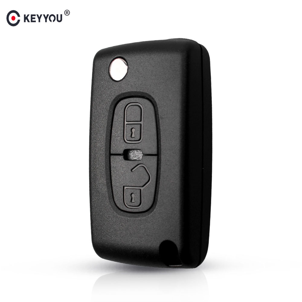 KEYYOU 10x For <font><b>Peugeot</b></font> 4007 ET <font><b>4008</b></font> For Citroen C-Crosser C4 2 Button Fob <font><b>Key</b></font> Case Flip Remote <font><b>Key</b></font> Shell Fob MIT-11R Blade image