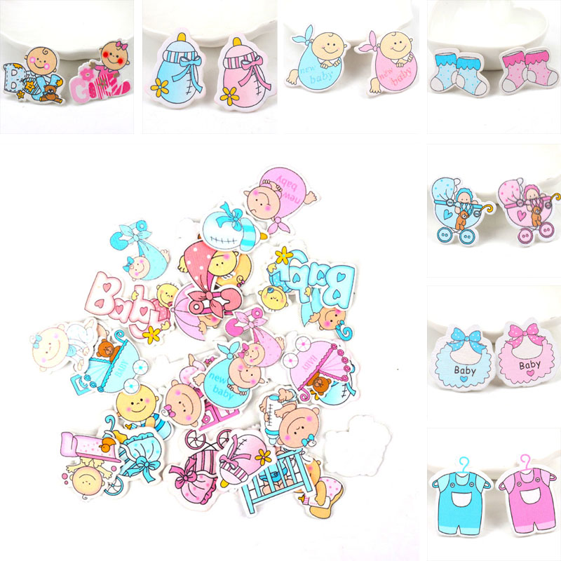 Blue Pink Baby Series Pattern Scrapbooking Wooden Craft DIY For Handmade Sewing Home Decoration 20pcs 35mm MT0452