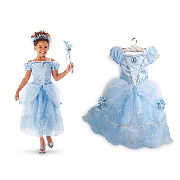 Original Princess Snow White Cinderella Dresses Costumes: 2015 New Girls Cinderella Dresses Children Snow White