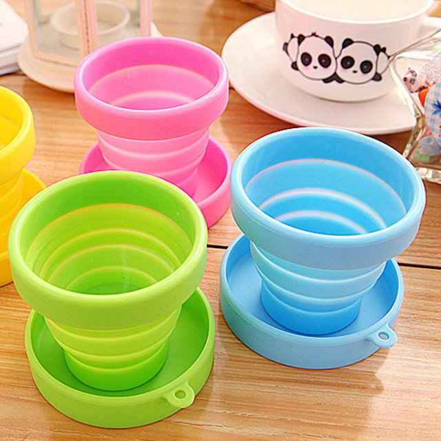 New Folding Gargle Candy Color Cup Solid Color Water Silicone Traveling Portable Foldable Cups For Travel Outdoor Drinkware BS