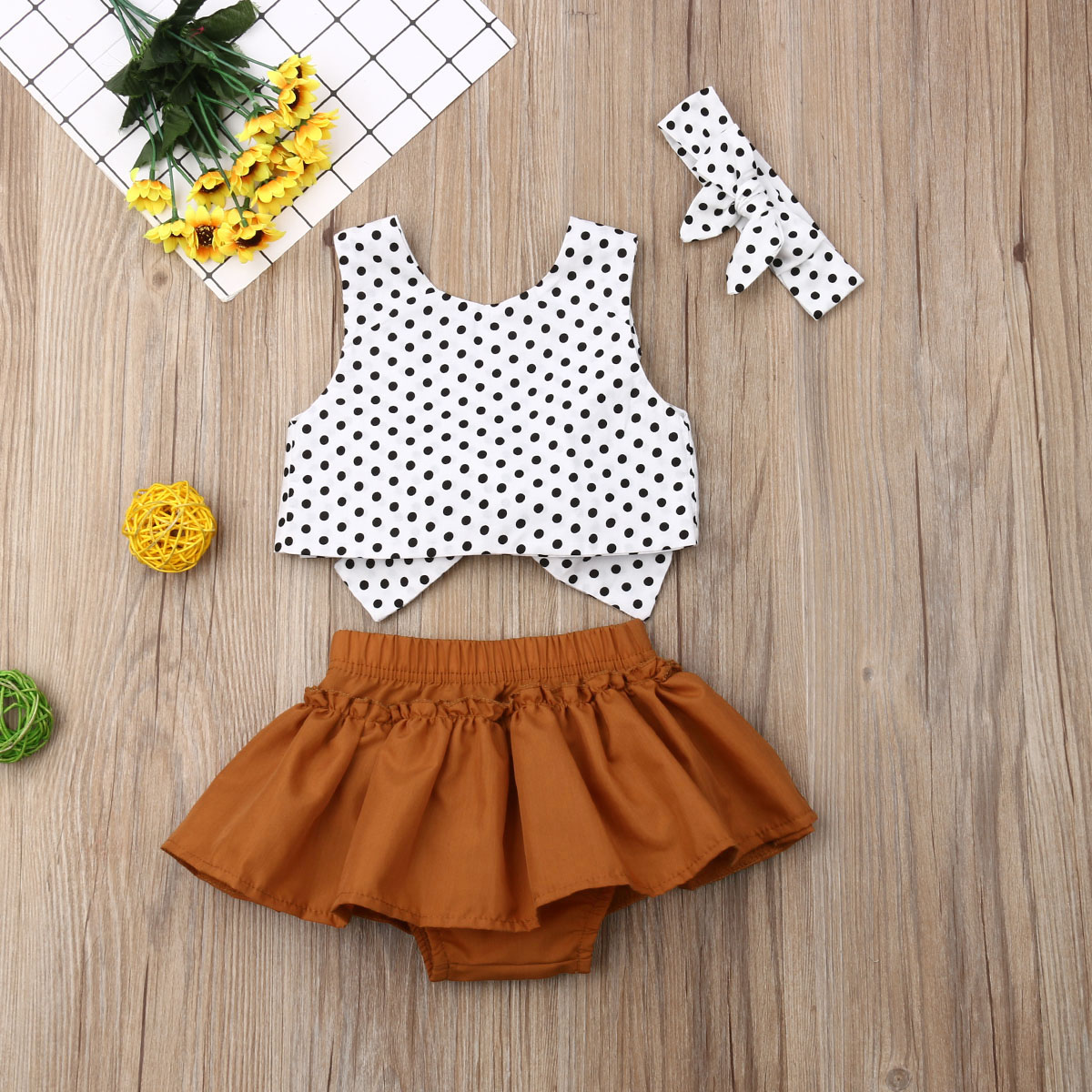 Pudcoco Summer Newborn Baby Girl Clothes Sleeveless Polka Dot Cropped Tops Bowknot Short Skirt Headband 3Pcs Outfits Clothes
