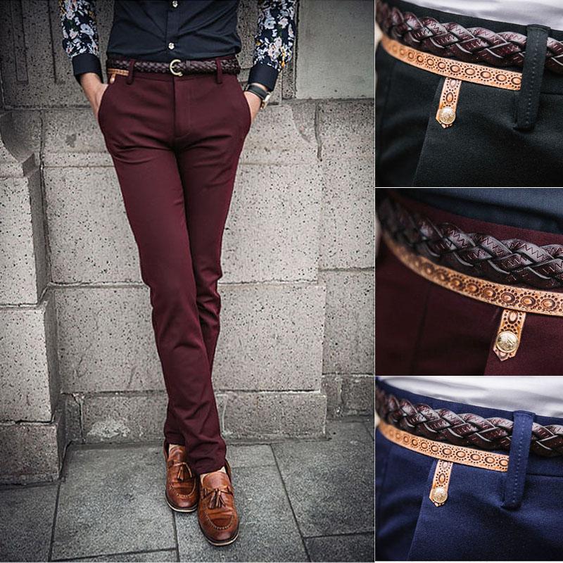 para mens hombre vino elásticos flacos para pantalones primavera 2015 moda delgado vintage ocasionales nueva jadean gruesos rojo delgado pantalones hombre d7qx6TA