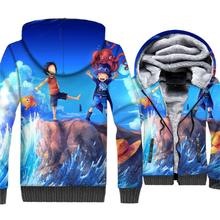 Anime One Piece 3D Hoodie Men Luffy Sweatshirt 2018 New Winter Thick Fleece Zipper Jackets The Pirate King Coat Brand Clothing