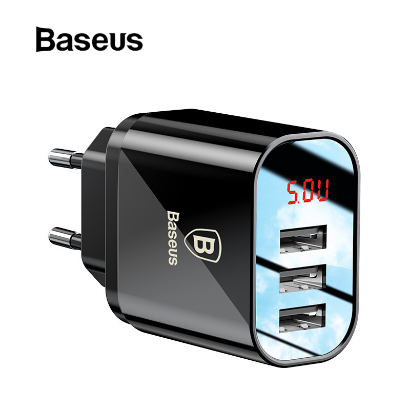 LED Display 3 USB Charger, Baseus Mobile Phone USB Charger Fast Charging Wall Charger For iPhone Samsung Xiaomi 3.4A Max Charger