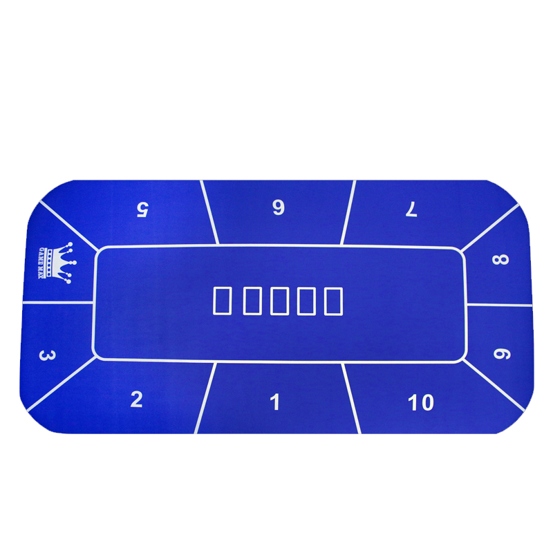 Casino Blue Rubber Cloth 180*90cm Poker Table 10 Players Texas Hold'em Poker Table Cloth Board Game Cloth Mat 2.4kg