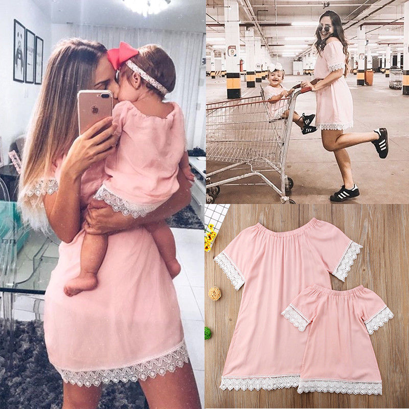 Mother Daughter Dresses Fashion Family Lace Mini Dress Matching Mom Girls Family Clothes Summer Women Baby Mommy And Me Clothes see thru mini lace dress