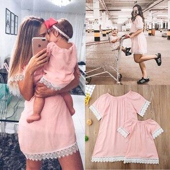 Vestidos de madre hija moda familia encaje Mini vestido a juego mamá Niñas Ropa familiar verano mujeres bebé mamá y yo ropa