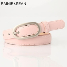 RAINIE SEAN Pink Leather Women Belt Pin Buckle Casual Thin Strap Pu Candy Color Ladies For Trousers