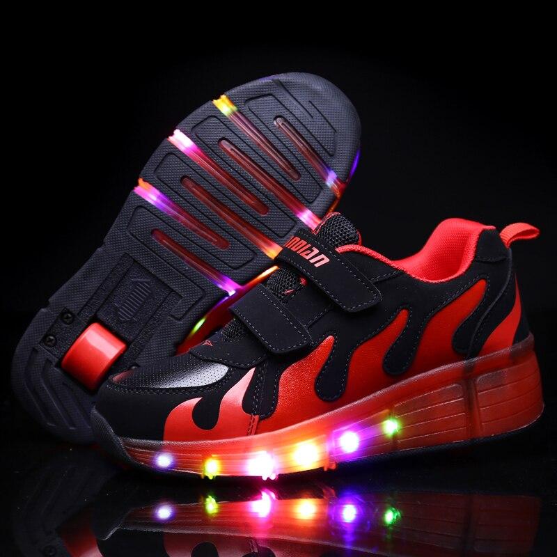 2017 Hot New Child LED Junior Girls/Boys Children Roller Skate Shoes Kids Sneakers with Single Wheels Multicolor