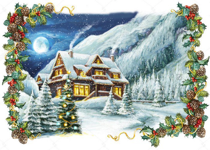 Christmas Village Winter Rustic Frame XMAS backdrop High-quality Vinyl cloth Computer printed party  Backgrounds for sale cartoon candy display backgrounds vinyl cloth computer printed wedding backdrop