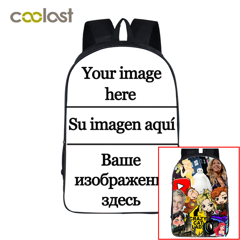 Customize The Image Logo Backpack Women Men Travel Bags Compass Children School Bags Boys Girls Book Bag Kids Gift Backpacks