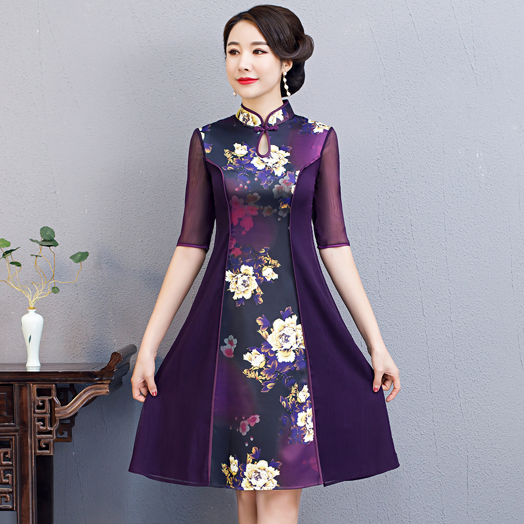 2020 Spring Women Sexy Chiffon Dress Print Flower Chinese Style Evening Party Qipao Handmade Button Vintage Cheongsam M-3XL