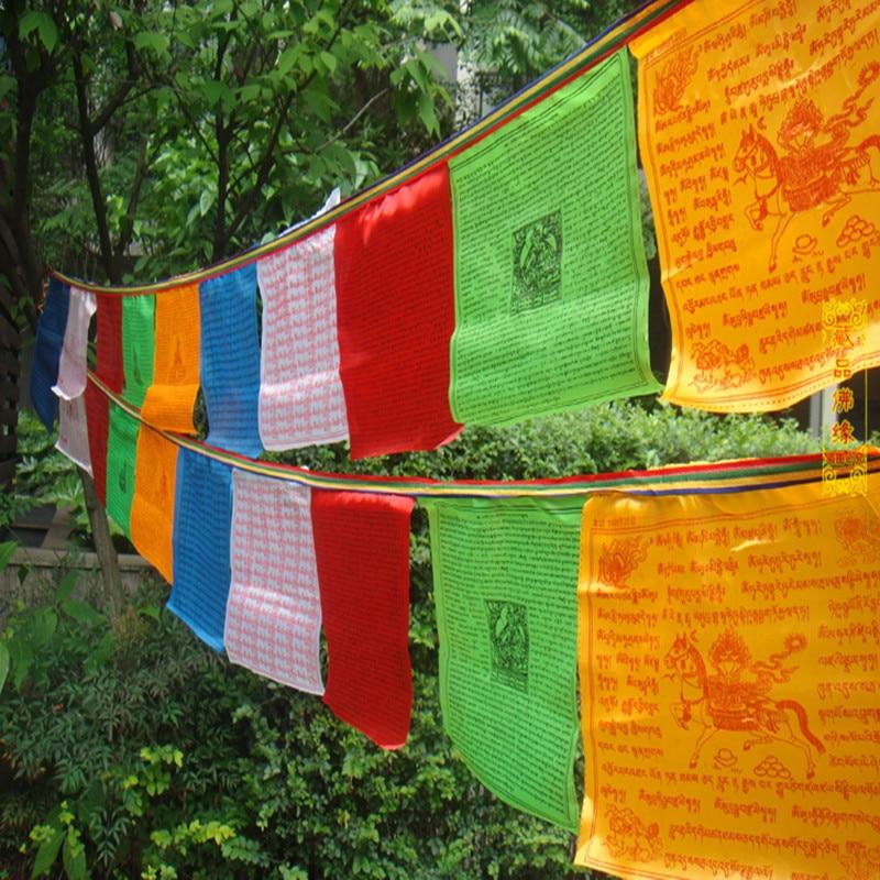 Tibetansk buddhistisk bönflagga Silkfärgtryck 3,5 meter 10 st / - Heminredning - Foto 5