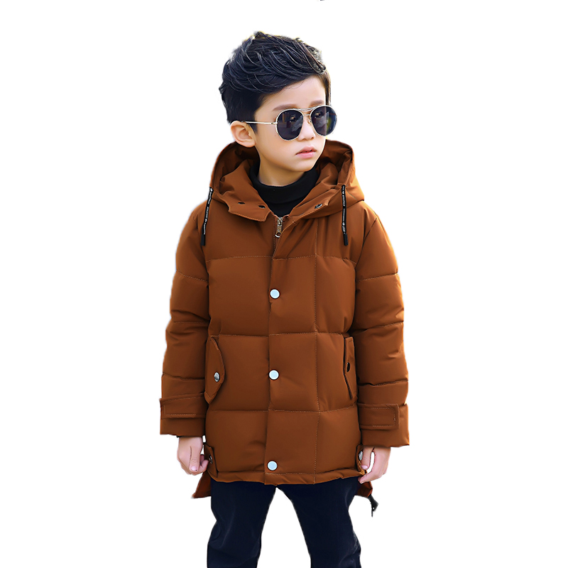 2018 New Children's Clothing Winter Coat Fashion Hooded Jacket Boy Long Winter Plus Velvet Thick Children Fit 3-10T 2017 new winter fashion women down jacket hooded thick super warm medium long female coat long sleeve slim big yards parkas nz18