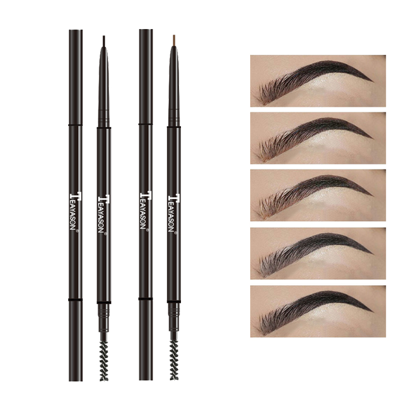 Teayason Double Ended Super Slim Eyebrow Pencil & Eyebrow Brush Waterproof Long Lasting Black Brown Eyebrow Tatoo Pen Cosmetics