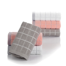 34x75cm 100% Cotton Plain Color Cube Plaid Towel Washcloth Absorbent Bathroom Family Hand For Adult