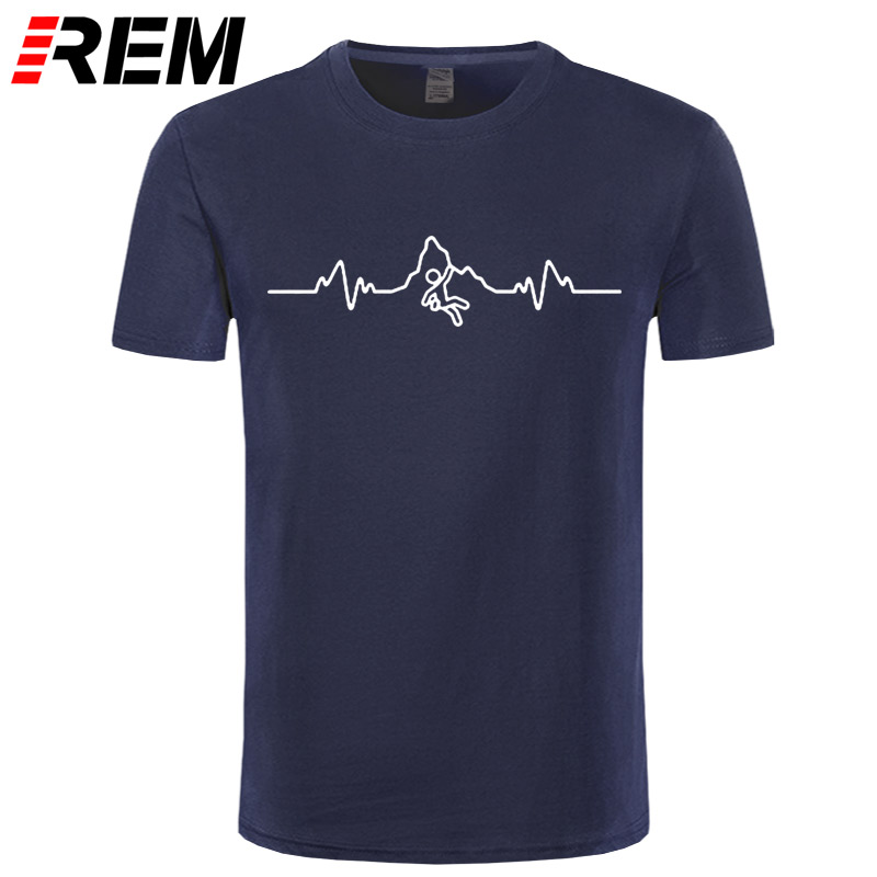 REM Summer Men   T     Shirt   Eat Sleep Climb Print Funny Brand Clothing Born To Climb Evolution CLIMBINGER HEARTBEAT PULSE   T  -  shirt