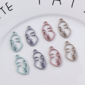 Image 4 - 10Pcs/Lot New Arrival 13*23mm Rubber Lacquer Hollow Face Charms Connector Diy Jewelry Findings Earrings Accessories Wholesale