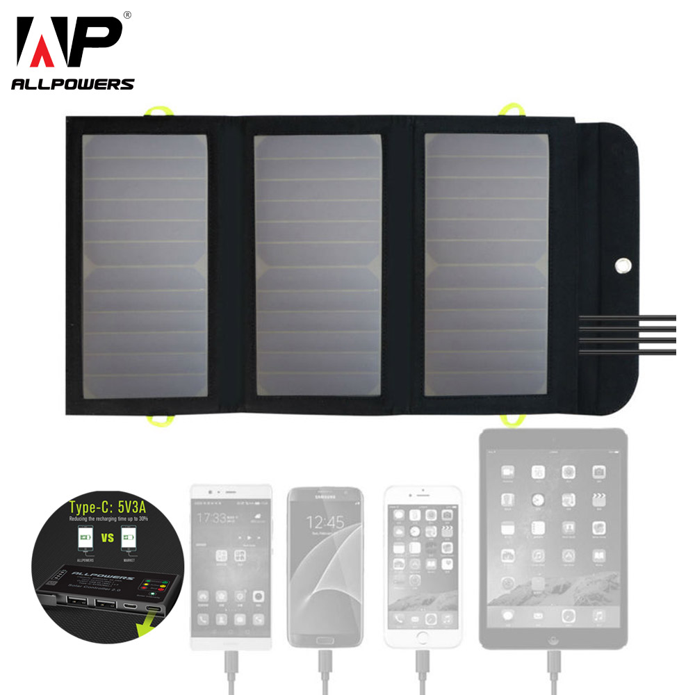 ALLPOWERS 8000mAh Portable Solar Battery Charger 5V 21W Solar Power Charger 4 USB Charge For IPhone